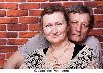 ältere, paar, liebe, glücklich