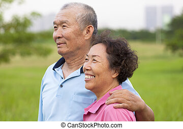 ältere, paar, park., senioren, glücklich