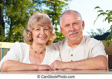 ältere, paar, senioren