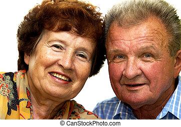 ältere paare, lächelten, glücklich