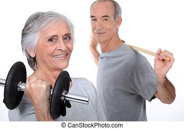 ältere paare, machen, fitness