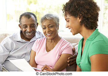 ältere paare, reden, finanzieller berater, hause