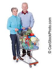 ältere paare, shoppen, gemuese