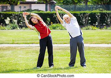 ältere paare, trainieren