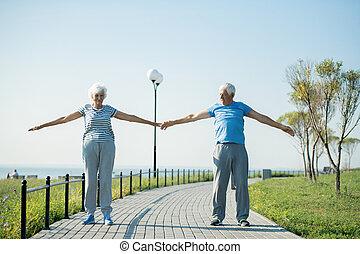 ältere paare, trainieren, draußen