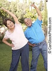 ältere paare, trainieren, in, kleingarten