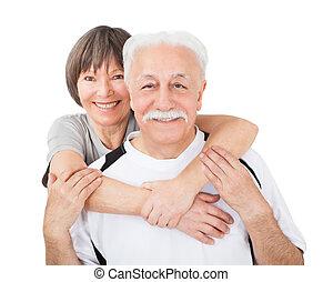 ältere paare, umarmen, an, turnhalle