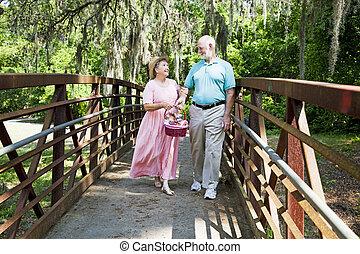 ältere, picknick, urlaub
