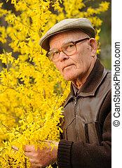 älterer mann, arbeitende , in, kleingarten