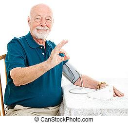 älterer mann, -, blutdruck, gleichfalls, ein-okay
