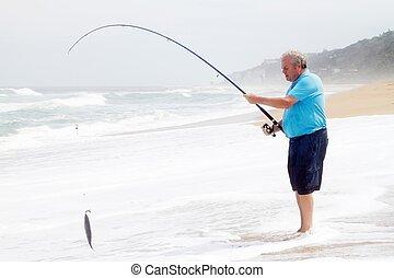 älterer mann, fangen fisches, mit, angelrute