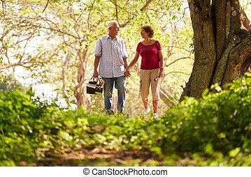 älterer mann, frau, altes ehepaar, machen, picknick