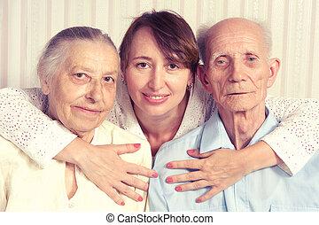 älterer mann, frau, mit, ihr, caregiver, an, home.