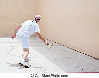 älterer mann, gericht, racquetball