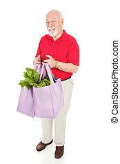 älterer mann, geschäfte, grün
