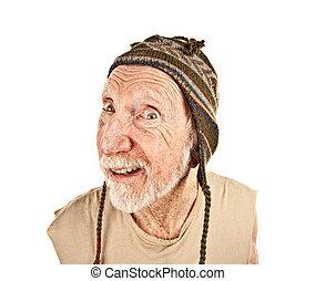 älterer mann, in, hut stricken