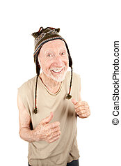 älterer mann, in, strickmütze