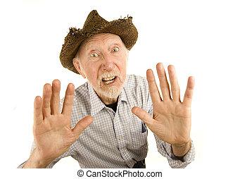 älterer mann, in, strohhut