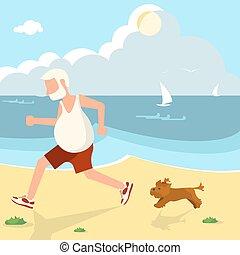 älterer mann, jogging