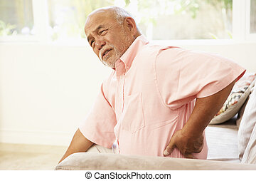 älterer mann, leidensdruck, von, rückseitige schmerz, hause