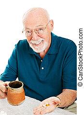 älterer mann, nimmt, ergänzungen
