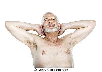älterer mann, porträt, entspannend