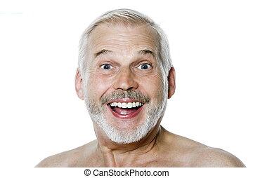 älterer mann, porträt, glückliches lächeln