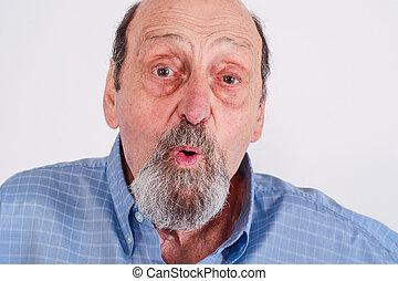älterer mann, schockiert