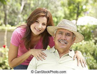 älterer mann, töchterchen, kleingarten, erwachsener