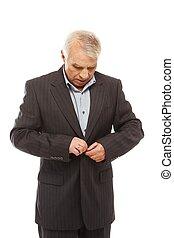 älterer mann, tragen, klage, freigestellt, weiß