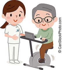 älterer mann, trainieren, auf, stationär, fahrräder, in, gesundheit klasse