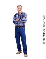 älterer mann, volles längenporträt