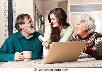 älteres einkaufen, paar, online