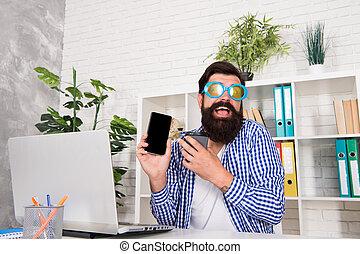 ämbete., färsk, direkt, tagande, skäggig, fördel, man, tokig, beställning, technology., smartphone, glasögon, teknologi, om, nymodig, stinkande, mobil, användande