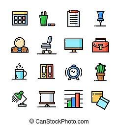 ämbete ikon, sätta, illustration, vektor, klen förfaringssätt