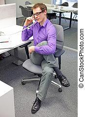 ämbete telefonera, arbetare, hand, man, caucasian, ben, sträckande