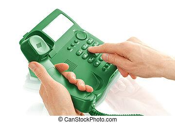 ämbete telefonera, med, räcker