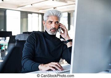 ämbete telefonera, mogna, tillverkning, affärsman, call.