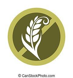 ämne, gluten, säder, gratis, korsat, sädesslag, logo, cirkel