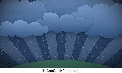 ändern, weather., regen, und, sun., hd