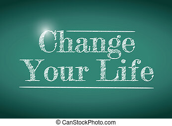 änderung, dein, leben, nachricht, geschrieben, auf, a, chalkboard.