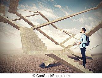ändlös, trappa, av, framtid