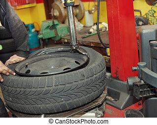 ändra ett däck, in, a, garage