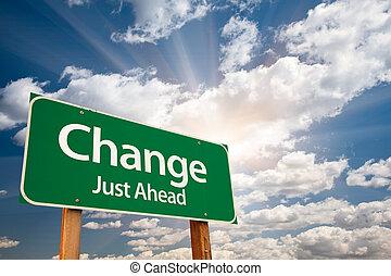 ändring, grön, vägmärke, över, skyn