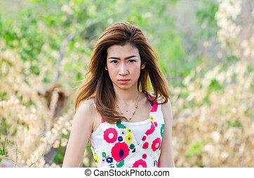 äng, kvinna, girl., asiat, stående, modell
