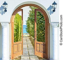 äng, lysande, synhåll, dörr, grön, solsken, öppna