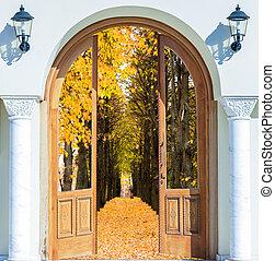 äng, lysande, synhåll, upplyst, dörr, solsken, öppna
