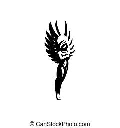 ängel, kvinna, wings.