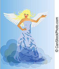 ängel, och, fan, retro, kvinna