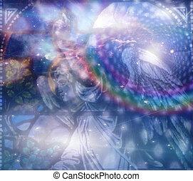 ängel, och, heaveanly, komposition